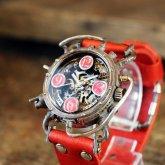 スチームパンク機械式腕時計 クロノマシーン シルバー925 蓄光ピンク 自動巻