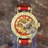ドラゴンの腕時計『時計の針が気になって夜も眠れないドラゴン』レッド 自動巻き機械式