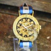 ドラゴンの腕時計『時計の針が気になって夜も眠れないドラゴン』ブルー 自動巻き機械式