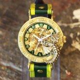 ドラゴンの腕時計『時計の針が気になって夜も眠れないドラゴン』グリーン 自動巻き機械式