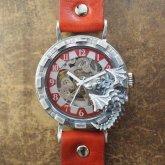 ドラゴンの腕時計『時計の針が気になって夜も眠れないドラゴン』silver925 レッド 自動巻き機械式