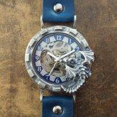 ドラゴンの腕時計『時計の針が気になって夜も眠れないドラゴン』silver925 ブルー 自動巻き機械式