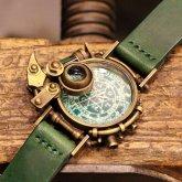 【一点物】スチームパンク腕時計 電氣エンドルフィン コラボウォッチ 魔法陣 蓄光文字盤 グリーン 緑