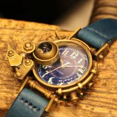 【一点物】スチームパンク腕時計 電氣エンドルフィン コラボウォッチ アラビア数字 蓄光文字盤 ブルー 青
