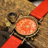 【一点物】スチームパンク腕時計 電氣エンドルフィン コラボウォッチ アラビア数字 蓄光文字盤 レッド 赤
