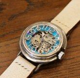自動巻式 スケルトン 銀製 機械式腕時計 float see through ターコイズブルー シルバー925 オートマ