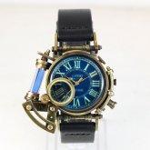 【受注】スチームパンク 腕時計 電氣エンドルフィン x A STORY コラボウォッチ ブルー ローマ 蓄光