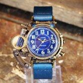 【受注】スチームパンク 腕時計 電氣エンドルフィン x A STORY コラボウォッチ 真鍮 ブルーアラビア 蓄光 文字盤