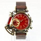 【受注】スチームパンク 腕時計 電氣エンドルフィン x A STORY コラボウォッチ レッド ローマ 蓄光