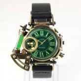 【ラスト1点】スチームパンク 腕時計 電氣エンドルフィン x A STORY コラボウォッチ グリーン ローマ 蓄光