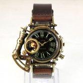 【受注】スチームパンク 腕時計 電氣エンドルフィン x A STORY コラボウォッチ ブラック ローマ 蓄光