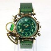 【受注】スチームパンク 腕時計 電氣エンドルフィン x A STORY コラボウォッチ 真鍮 グリーン アラビア 蓄光 文字盤