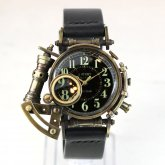 【受注】スチームパンク 腕時計 電氣エンドルフィン x A STORY コラボウォッチ 真鍮 ブラック アラビア 蓄光 文字盤
