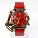 【ラスト1点】スチームパンク 腕時計 電氣エンドルフィン x A STORY コラボウォッチ 真鍮 レッド アラビア 蓄光 文字盤