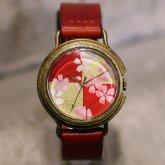 桜 市松模様の和風 腕時計