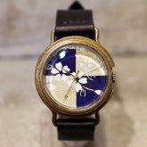 桜 市松模様の和風 腕時計 藍
