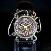スチームパンク腕時計 クロノマシーン シルバー925 レッド 自動巻機械式腕時計
