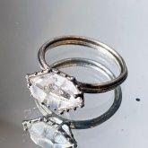 【一点物】飾屋しろがね ダイヤモンドクオーツ 指輪 10号 シルバーアクセサリー 指飾り