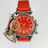 【受注】スチームパンク 腕時計 電氣エンドルフィン x A STORY コラボウォッチ 真鍮 レッド 漢数字 蓄光 文字盤