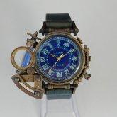 【受注】スチームパンク 腕時計 電氣エンドルフィン x A STORY コラボウォッチ 真鍮 青 漢数字 蓄光 文字盤