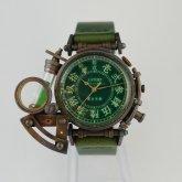 【受注】スチームパンク 腕時計 電氣エンドルフィン x A STORY コラボウォッチ 真鍮 緑 漢数字 蓄光 文字盤