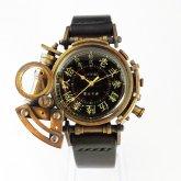 【受注】スチームパンク 腕時計 電氣エンドルフィン x A STORY コラボウォッチ 真鍮 黒 漢数字 蓄光 文字盤