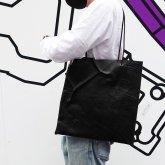 【受注】シンプルトート・部分的にボロノイ w17-01 bk ブラック【2020 有機的な個体】