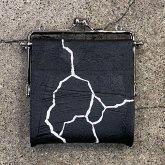 【ラスト1点】カガリユウスケ 何かのパーツ小銭入れ 亀裂彫り クラックブラック 黒壁