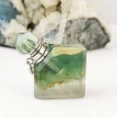 フローライト香水瓶ネックレス 菱形 018| 天然石 パフューム 香水ボトル フレグランスボトル