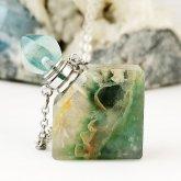 フローライト香水瓶ネックレス 菱形 013| 天然石 パフューム 香水ボトル フレグランスボトル