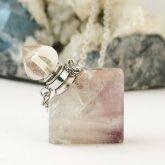 フローライト香水瓶ネックレス 菱形 008| 天然石 パフューム 香水ボトル フレグランスボトル