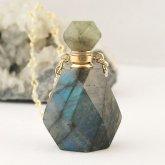 ラブラドライト香水瓶ネックレス 001 | 天然石 パフューム 香水ボトル フレグランスボトル