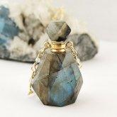ラブラドライト香水瓶ネックレス 002 | 天然石 パフューム 香水ボトル フレグランスボトル