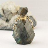 ラブラドライト香水瓶ネックレス 005 | 天然石 パフューム 香水ボトル フレグランスボトル