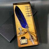 羽根ペン 羽ペン つけペン ステーショナリーセット フェザーペン 筆立て | 結婚式 プレゼント ボックス付き (ブルー)
