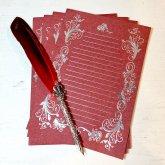 箔押しレター Letter 赤 Red 4枚セット 便箋 ロココ調の装飾 ステーショナリー