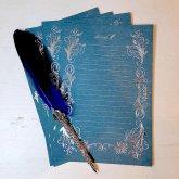 箔押しレター Letter 青 Blue 4枚セット 便箋 ロココ調の装飾 ステーショナリー