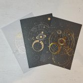 星座のレターセット 1組セット 黒色 金の箔押し ステーショナリー