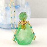 グリーンフローライト 香水瓶ネックレス 030| 天然石 パフューム 香水ボトル フレグランスボトル