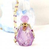 紫水晶(アメジスト)香水瓶ネックレス 002| 天然石 パフューム 香水ボトル フレグランスボトル