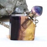 フローライト香水瓶ネックレス 菱形 044| 天然石 パフューム 香水ボトル フレグランスボトル