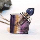 フローライト香水瓶ネックレス 菱形 046| 天然石 パフューム 香水ボトル フレグランスボトル