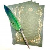 箔押しレター Letter 緑 Green 4枚セット 便箋 ロココ調の装飾 ステーショナリー