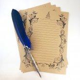 箔押しレター Letter カーキ Khaki 4枚セット 便箋 ロココ調の装飾 ステーショナリー