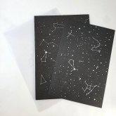 星座のレターセット 1組セット 黒 銀の箔押し ステーショナリー