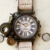 【一点物】スチームパンク 腕時計 電氣エンドルフィン x A STORY コラボウォッチ ローマ数字 文字盤