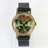 頭蓋骨柄の蝶の腕時計 スカルバタフライ ハンドメイド腕時計