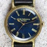 アンティークな腕時計 Classic Wristwatch 深海 青文字盤