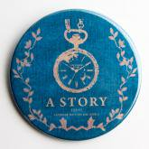 A STORY TOKYO 古書風 懐中時計 缶バッジ BLUE XL
