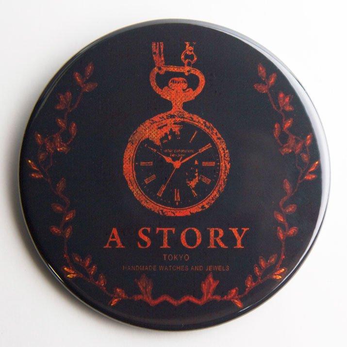 A STORY TOKYO 古書風 懐中時計 缶バッジ BLACK XL
